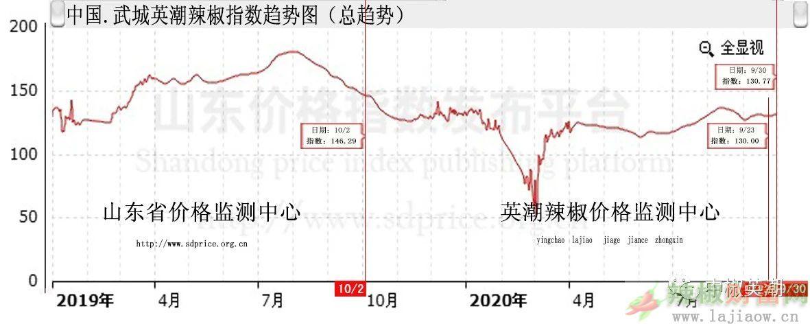 【2020年中国・武城英潮辣椒第40周指数 分析报告】 (9月27日--10月03日)